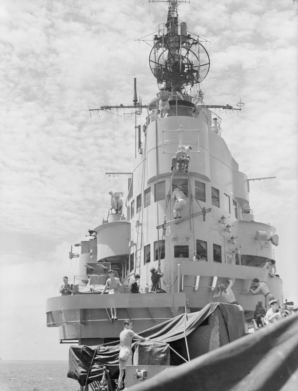 Indomitable, 1945. The war has just ended and the ship is being given a thorough painting and cleaning before returning home.