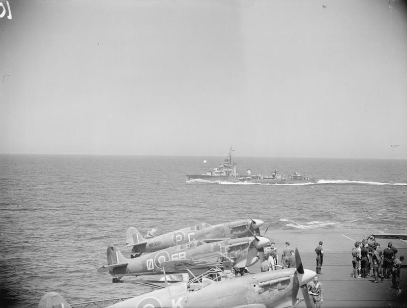 Early Seafires on outriggers aboard HMS Formidable