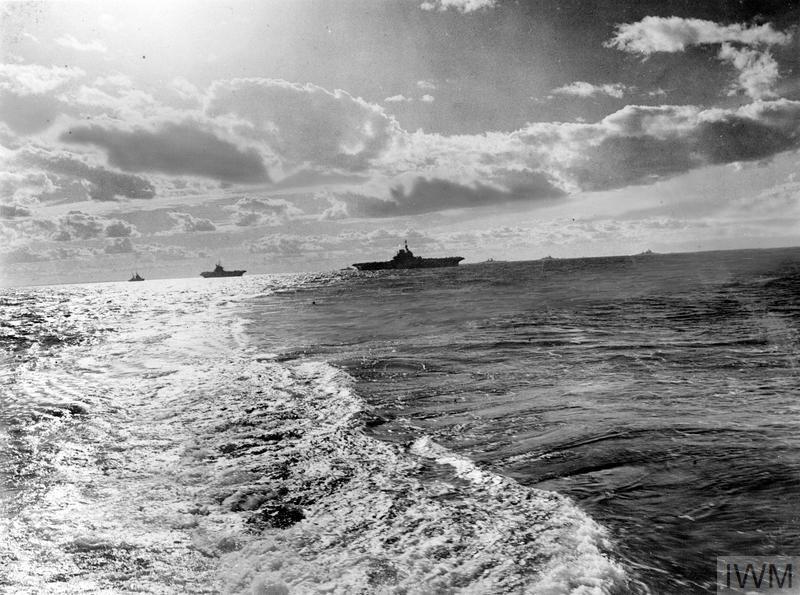 Left to right: the cruiser HMS BLACK PRINCE, aircraft carrier HMS VICTORIOUS, a destroyer, HMS ILLUSTRIOUS, FS RICHELIEU, HMS RENOWN, HMS QUEEN ELIZABETH, and another destroyer during the bombardment of Sabang, July 25.