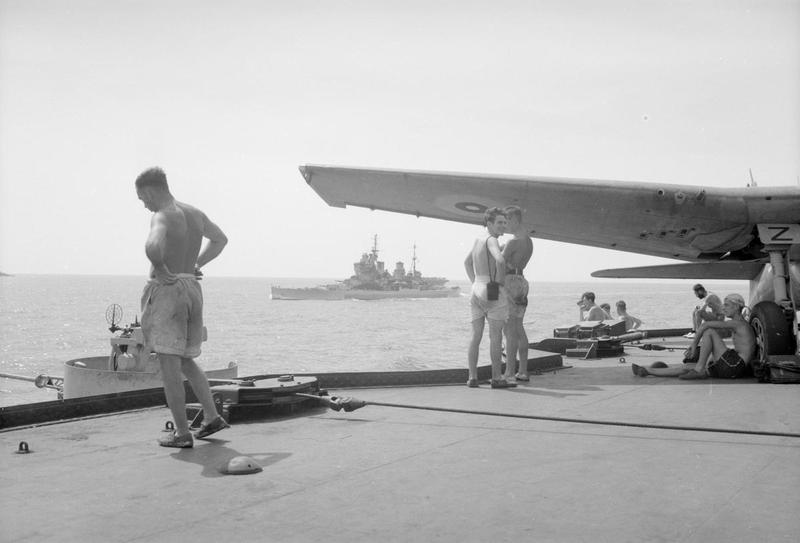 HMS HOWE seen from the flight deck of INDOMITABLE.