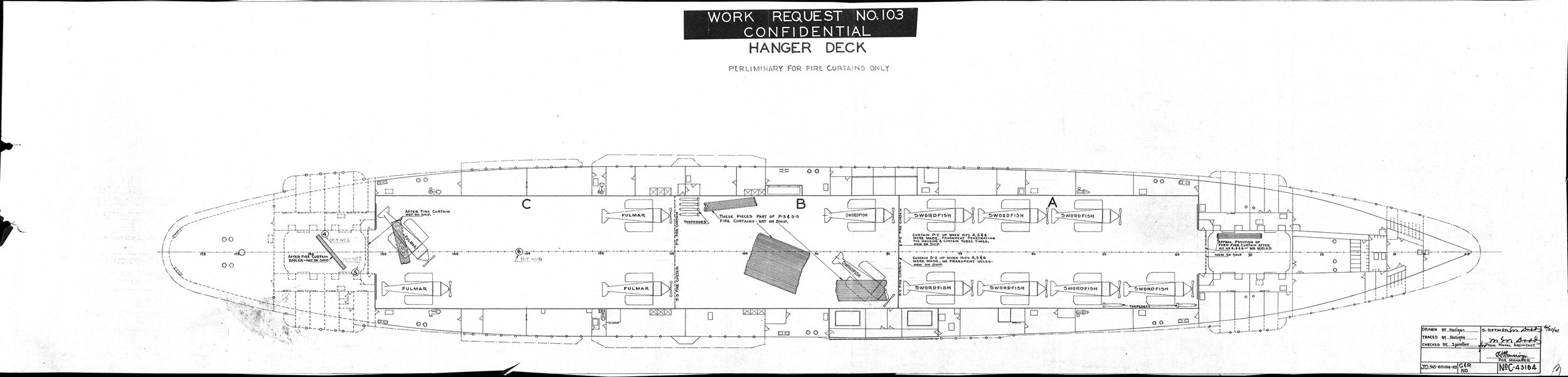 A preliminary hangar deck damage diagram in the US National Archive, showing the position of aircraft and the metal fire curtains. Click on the image for a larger version to display. Picture courtesy 'Researcher at Large'
