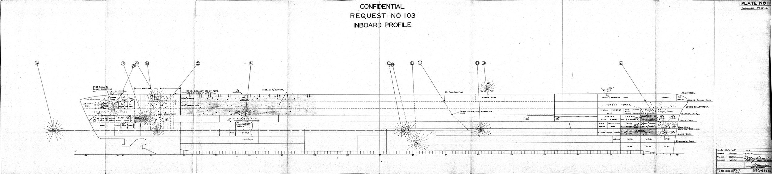 Click on the image for a larger view. This is a preliminary HMS Illustrious battle damage drawing compiled by the Norfolk Navy Yard. For more battle damage drawings and pictures, view the damage report pages linked to this page. Picture courtesy 'Researcher at Large'