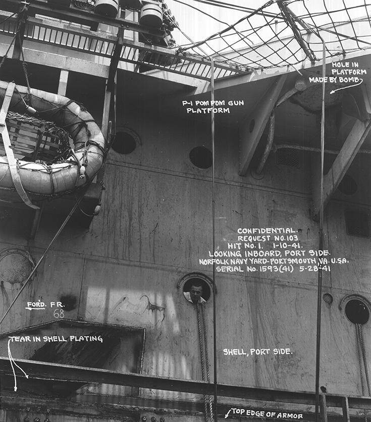 An annotated photo from the Norfolk Navy Yard showing the damage done to P1 Pom Pom platform and the scar on the hull and armour from the bomb glancing off the side. Picture courtesy 'Researcher at Large'
