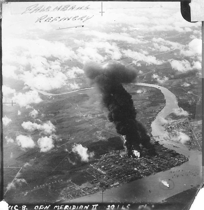 Fires rage inside Soengi Gerong refinery after the Palembang Meridian II strike. Note the burning tanker circled and labelled in the bottom-right of the photo