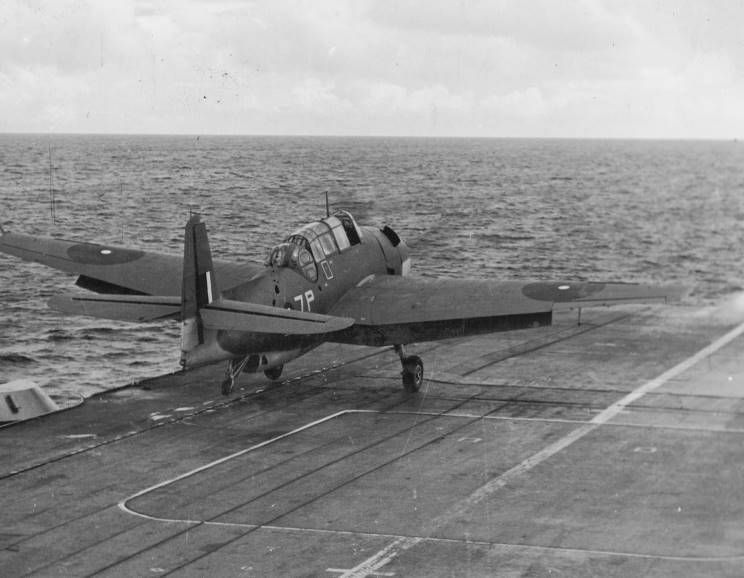 An Avenger of HMS INDOMITABLE's 857 squadron takes off.