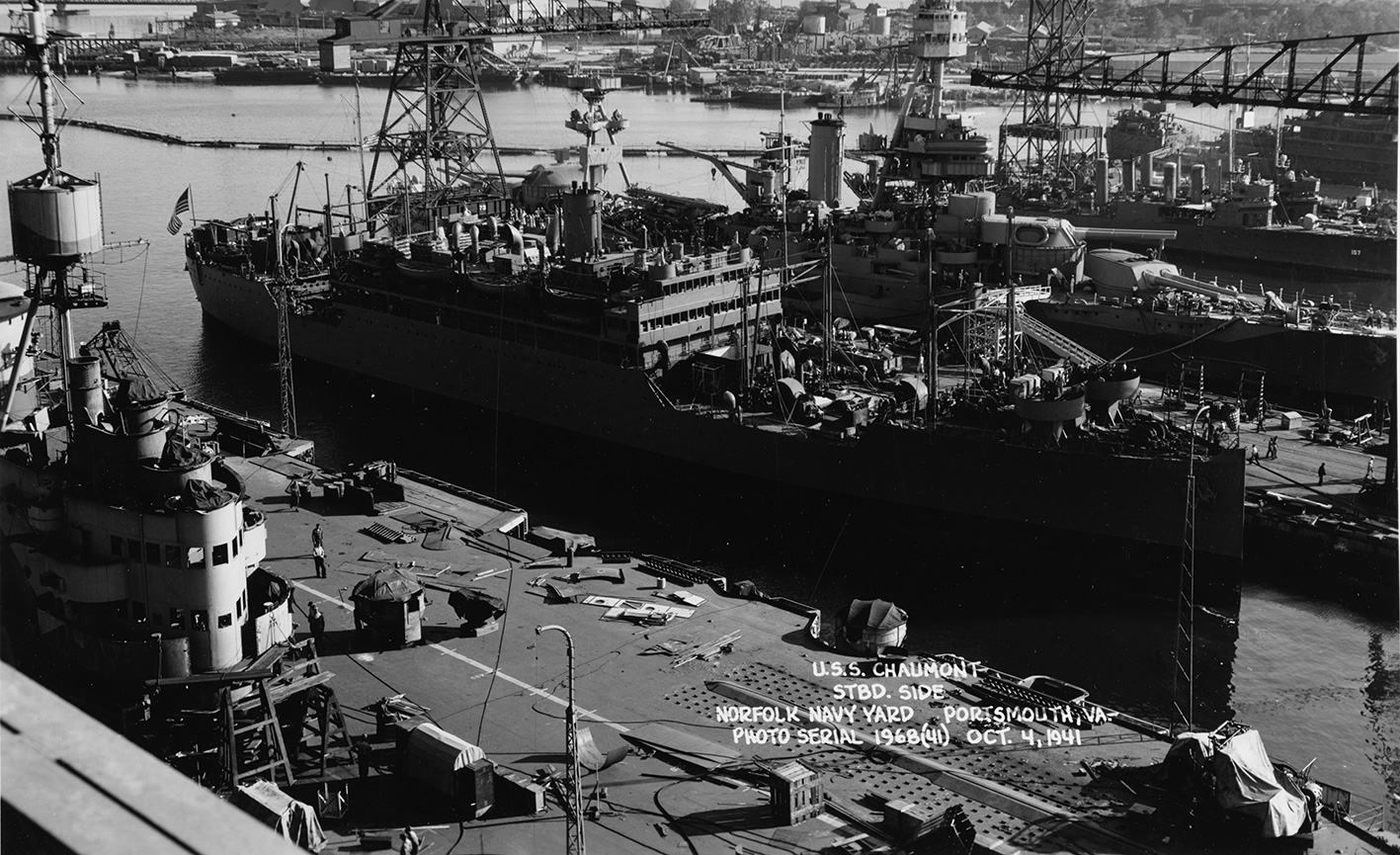 HMS ILLUSTRIOUS undergoing repairs at Norfolk Navy Yards. Picture courtesy Researcher at Large