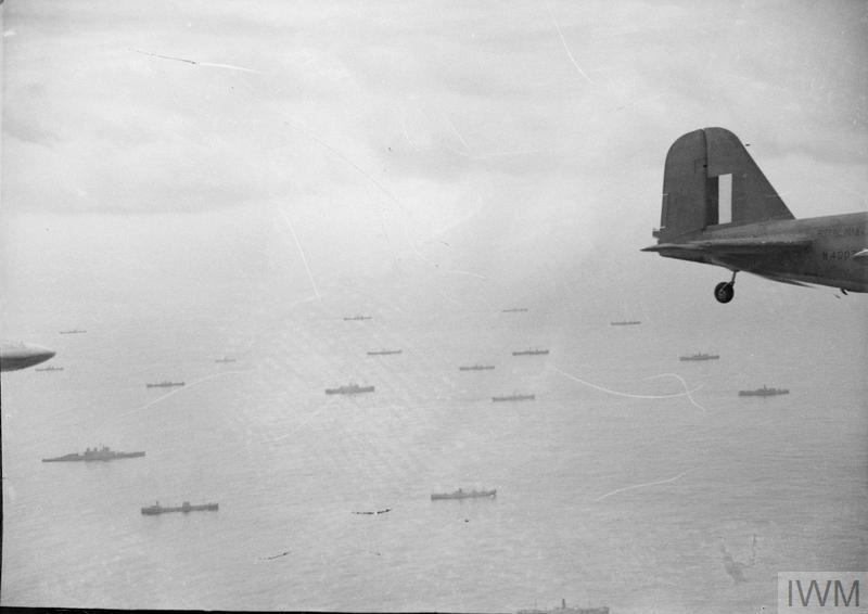 Fleet Air Arm Fairey Fulmar aircraft patrolling over a convoy, 1941