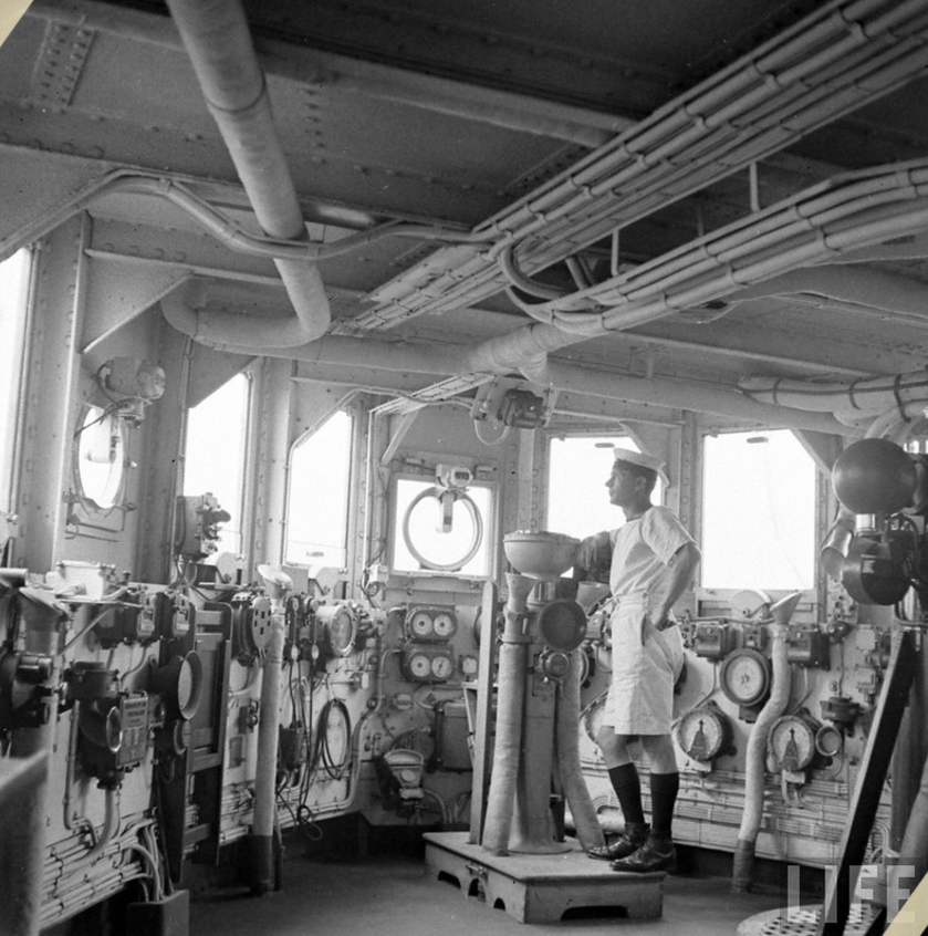 The bridge of HMS FORMIDABLE in 1941 while undergoing repairs in the Norfolk navy yards.