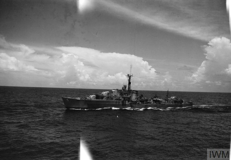 One of the escorting destroyers, HMS WHIRLWIND, seen from the ILLUSTRIOUS.