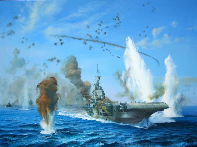 Smoke begins to bellow from HMS ILLUSTRIOUS' aft deck as the opening moves of X Fliegercorp's attack take place. Painting by Kevin Clarkson  @ KevinStuart56  , website  HERE