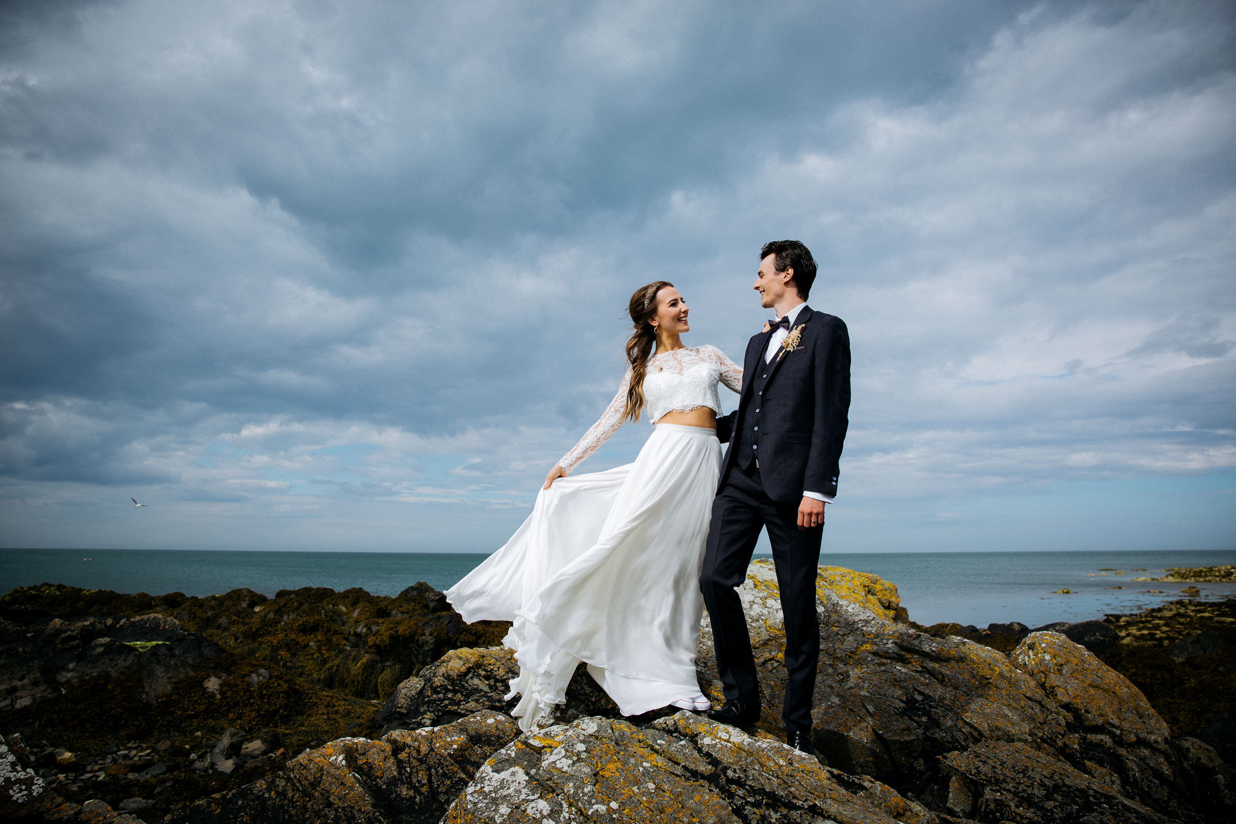 Dublin-Wedding-Photographer-Beach-couple-seperates-fun-skerries