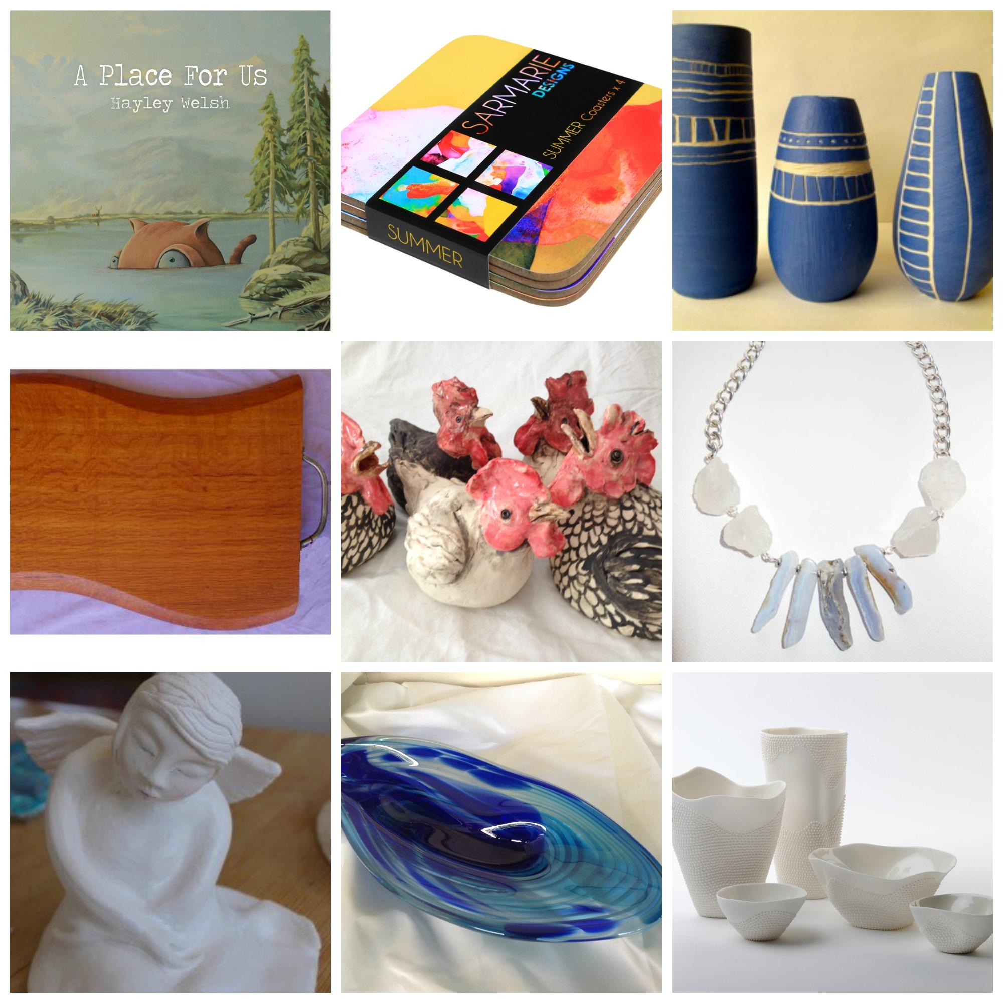 Books, coasters, ceramics, glass, wood, jewellery