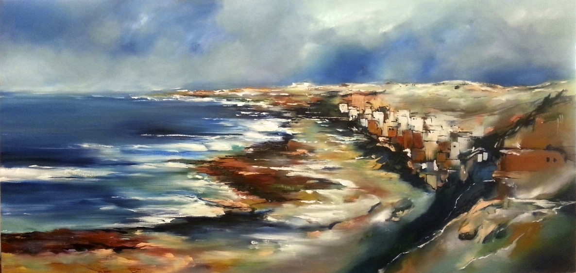 VILLAGE BY THE SEA 2 by Alice Linford Forte oil on canvas FR 75 X 145 CM $2000