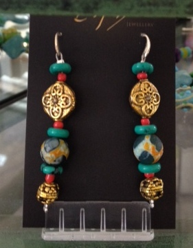 BLUE BEAD AND BRASS EARRINGS