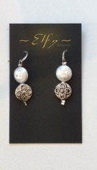 SHORT PEARL, BRASS AND SILVER EARRINGS