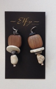 WOOD, STONE AND SILVER EARRINGS