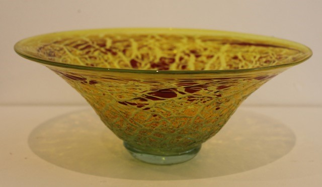 YELLOW AND GOLD CRACKLE BOWL