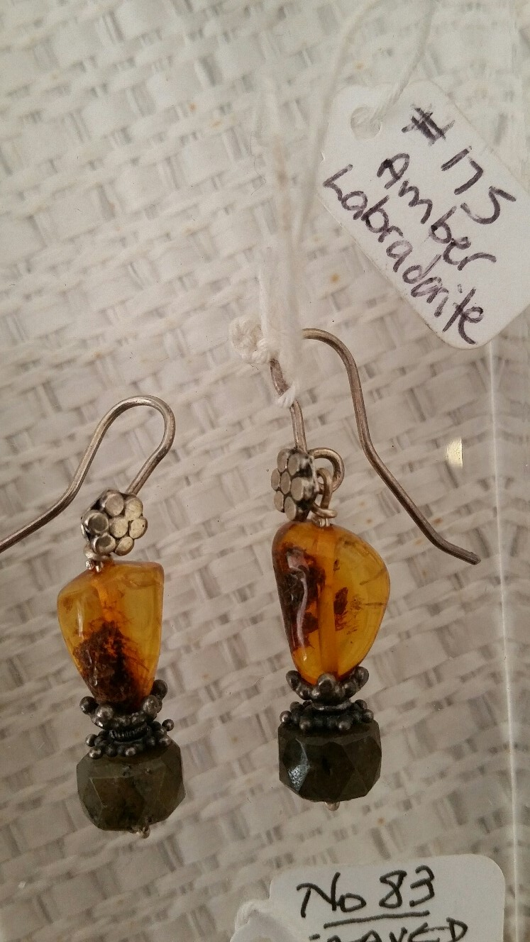 Title: Baltic Amber & Labradorite Earrings #175