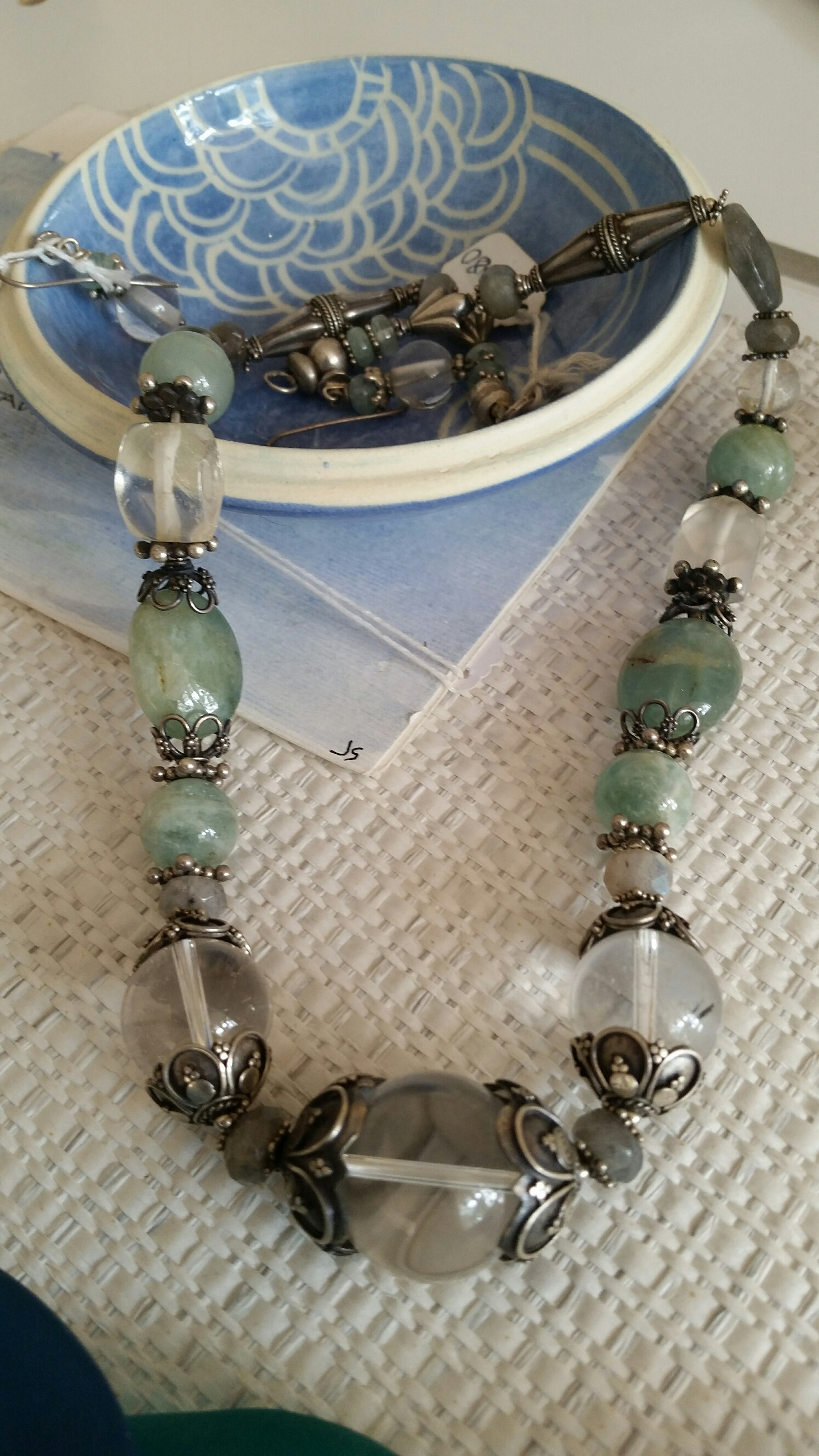 Title: Crystal Aquamarine & Labradorite Necklace #66