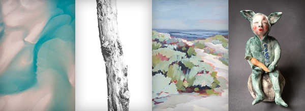 Martine Perret aerial photography, Ross Potter - Illustration, Jen Mellor oil painting, Amanda Shelsher ceramic sculpture