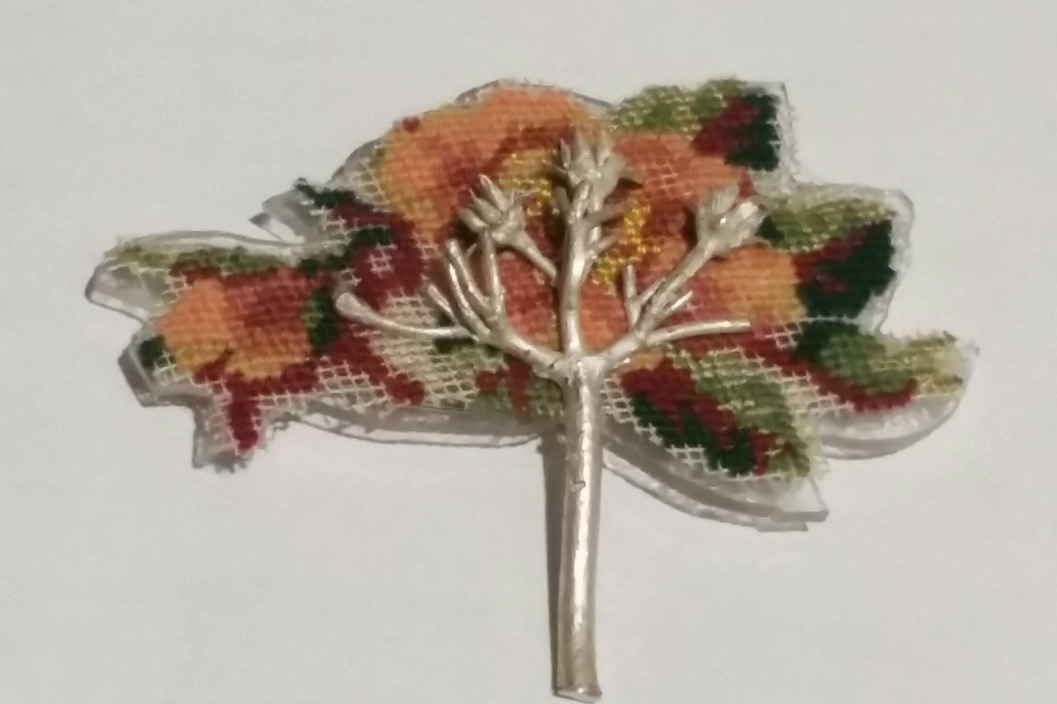 BROOCH ANTIQUE EMBROIDERY