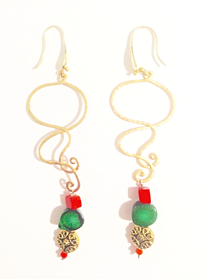 GOLD AND BEAD EARRINGS