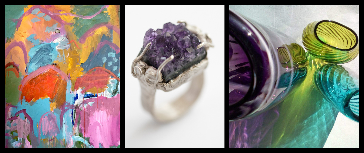 LIVE LIFE BRIGHT by Myra Mitchell /ULTRA VIOLET ring - Salli Coppin / GLASS by Gerry Reilly scroll down for more works available for sale