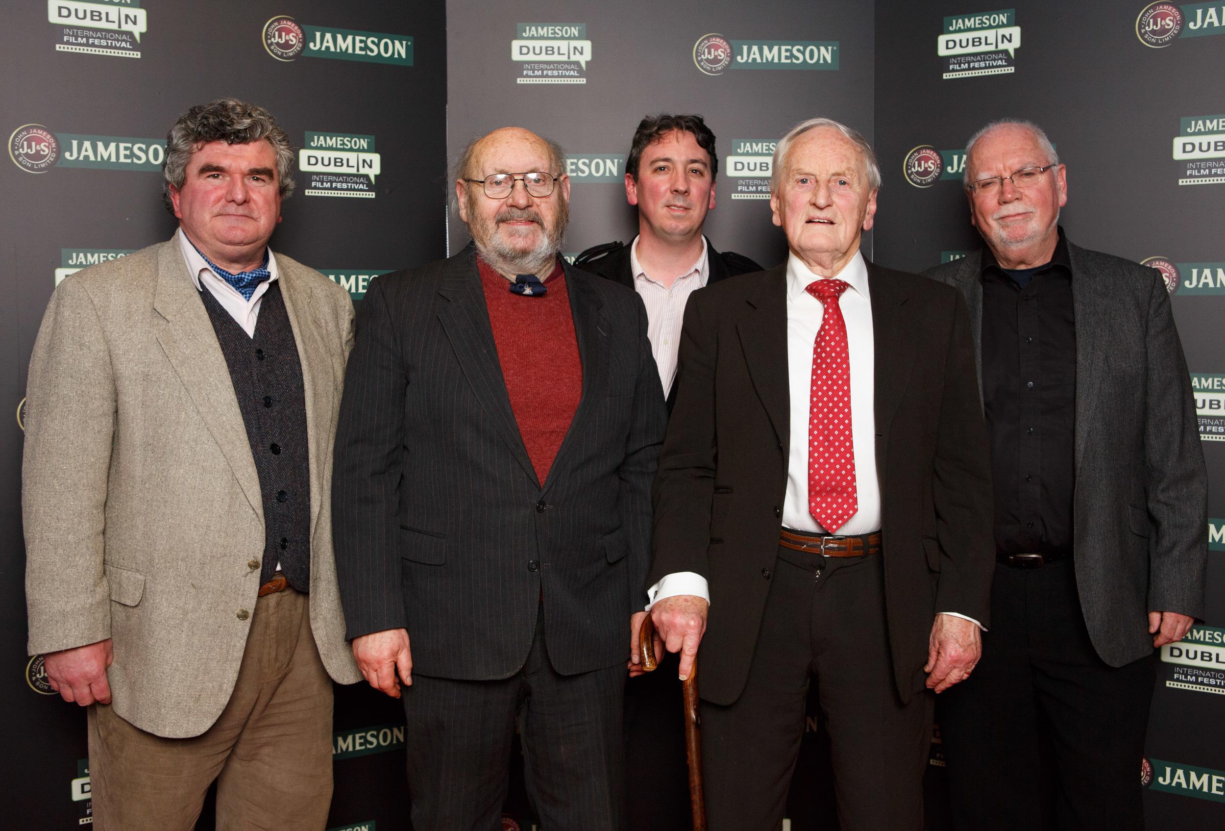 Editor Daithí Connaughton, Chris Shouldice (son of Irish Volunteer Jack), director Keith Farrell, Frank Shouldice (son of Irish Volunteer Frank) and producer Dave Farrell