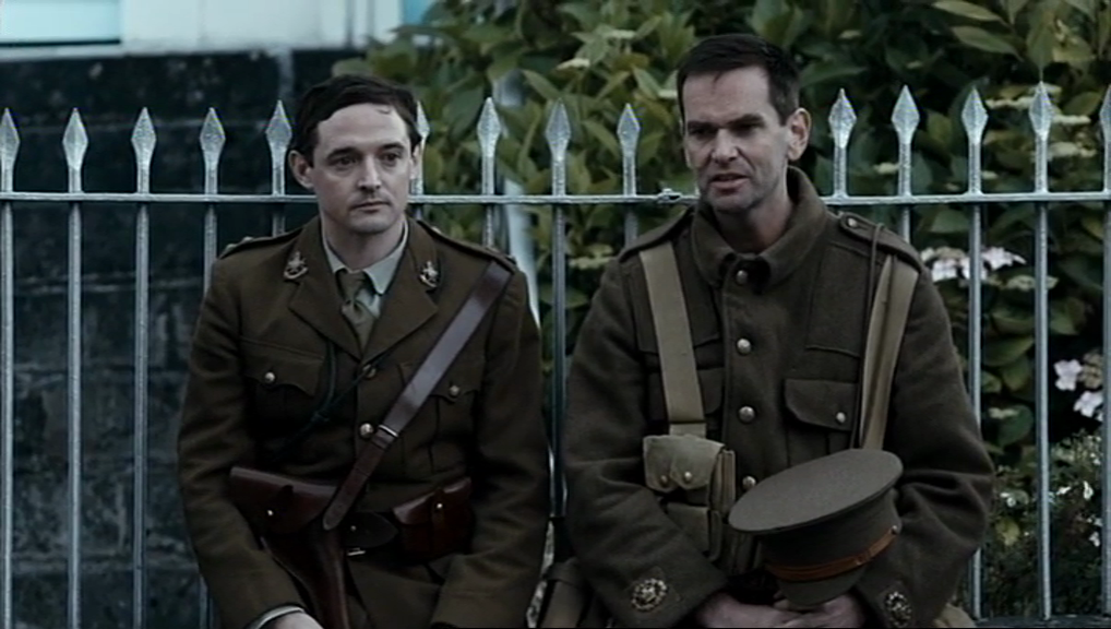 Arthur Dickson (Hugh O'Conor) and Charlie Faulkner (Duncan Lacroix) of the Sherwood Foresters look on at the casualties on Mount Street