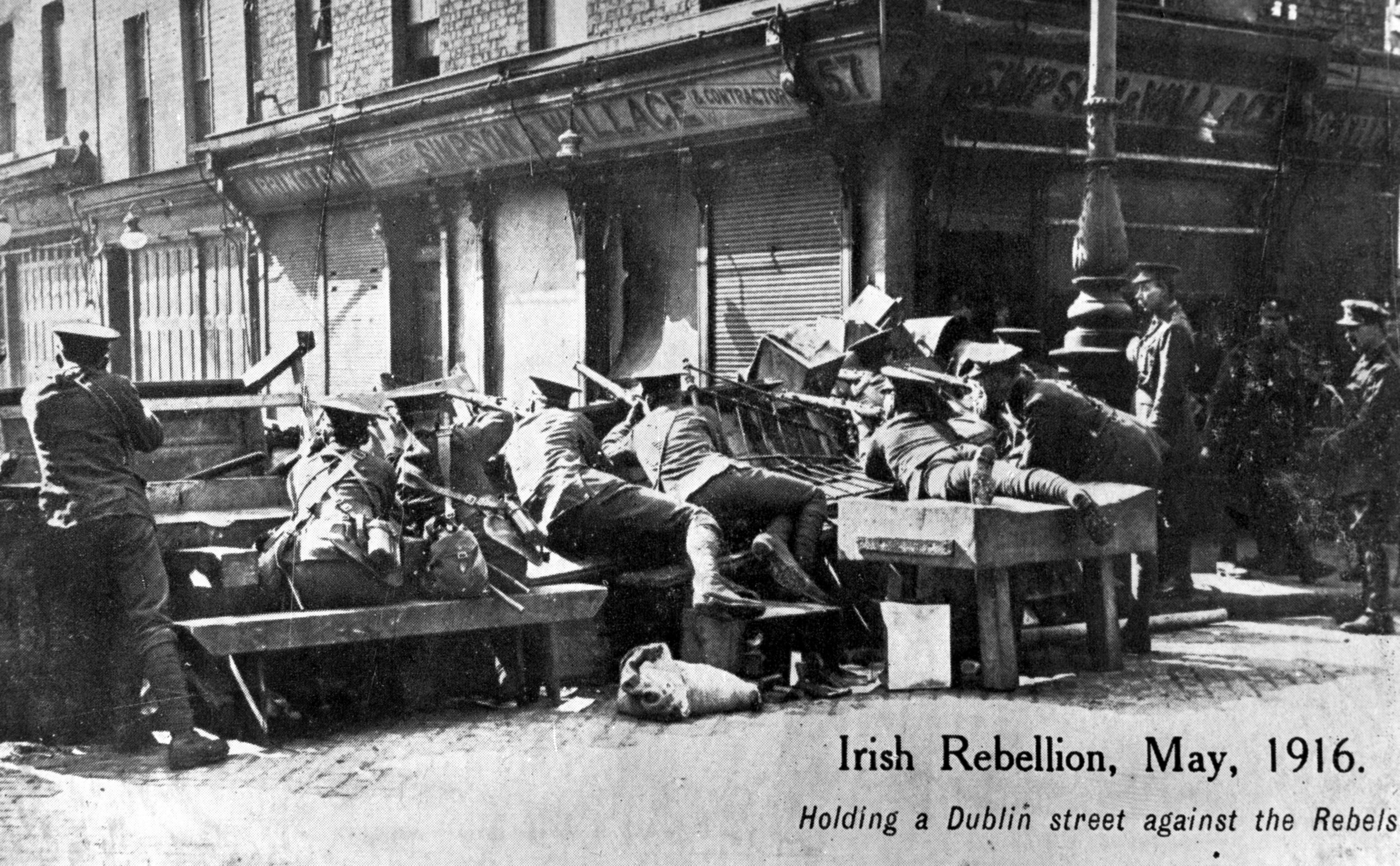 British soldiers manning a barricade on the corner of Moore Street and Parnell Street (formerly Great Britain Street)