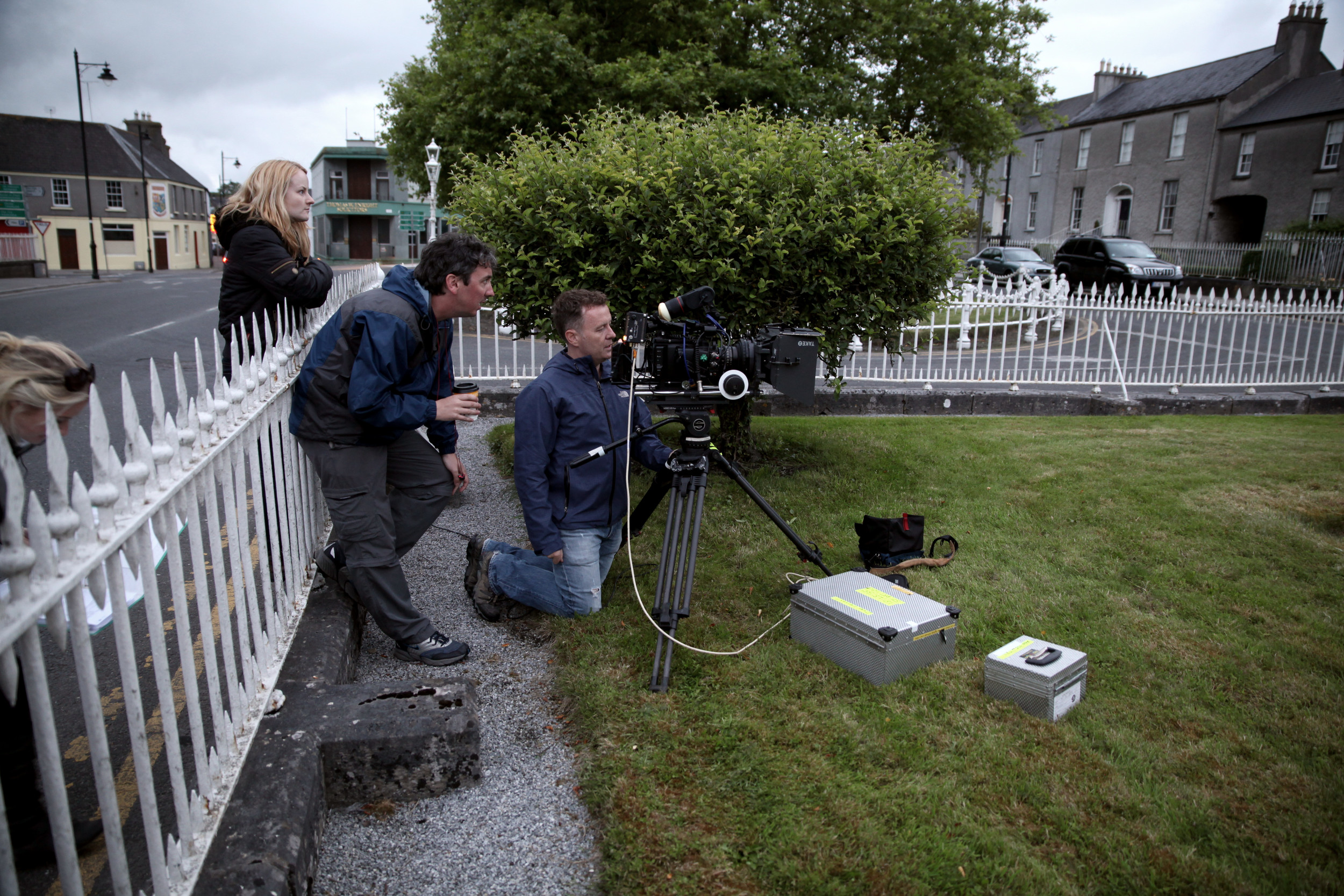 Director Keith Farrell and DOP Colm Whelan line up a shot in Birr, Co. Offaly.