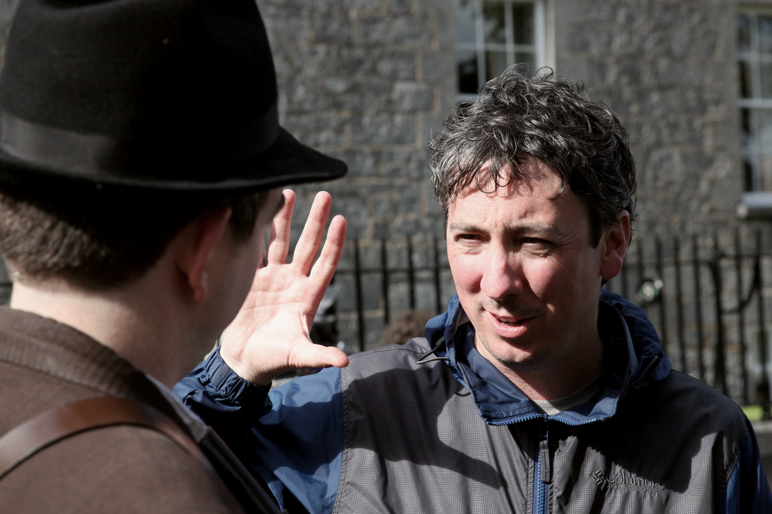 Director Keith Farrell discusses a scene with Cillian O'Donnachadha (Seamus Grace) in Birr, Co. Offaly.