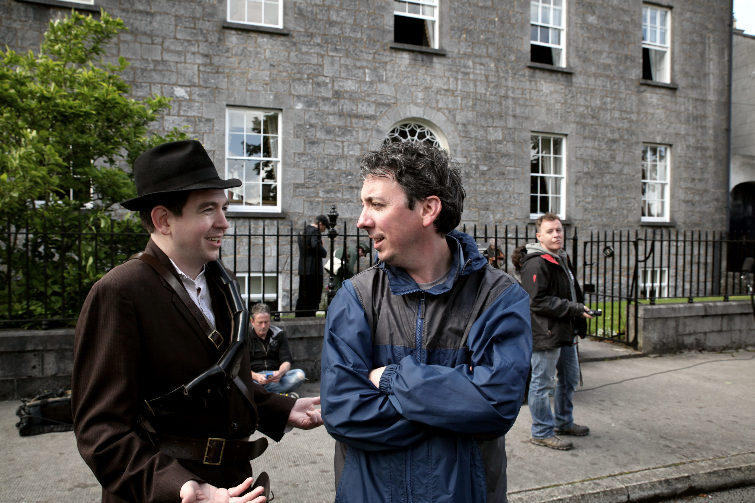 Director Keith Farrell and Cillian O'Donnachadha (Seamus Grace) during filming on the streets of Birr, Co. Offaly.