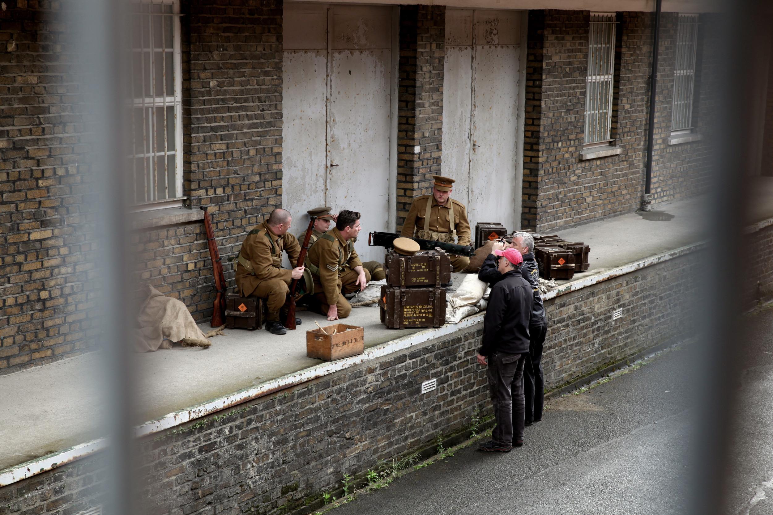 Stunt Coordinators Paul Valentine and John Sheridan discuss tactics during filming at Cathal Brugha Barracks, Dublin.