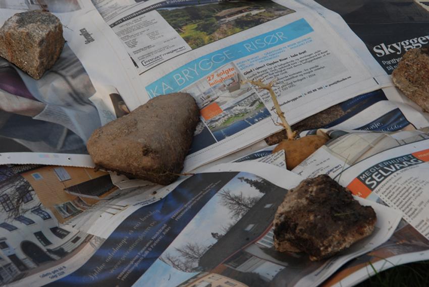 Potetene med ferdige groer fikk lys gjennom hvert sitt lille hull.
