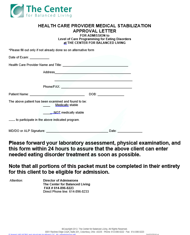 Medical clearance form -