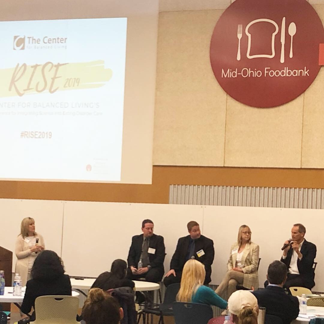 Board Member Amanda Lucas ( left ) moderates a panel at The Center for Balanced Living's annual RISE Conference regarding Collaborative Care in the treatment of eating disorders.   Left to right is David Banas; MD, Jason McCray; Ph.D., Sonja Stotz; RD, LD, and guest speaker Craig Kramer.