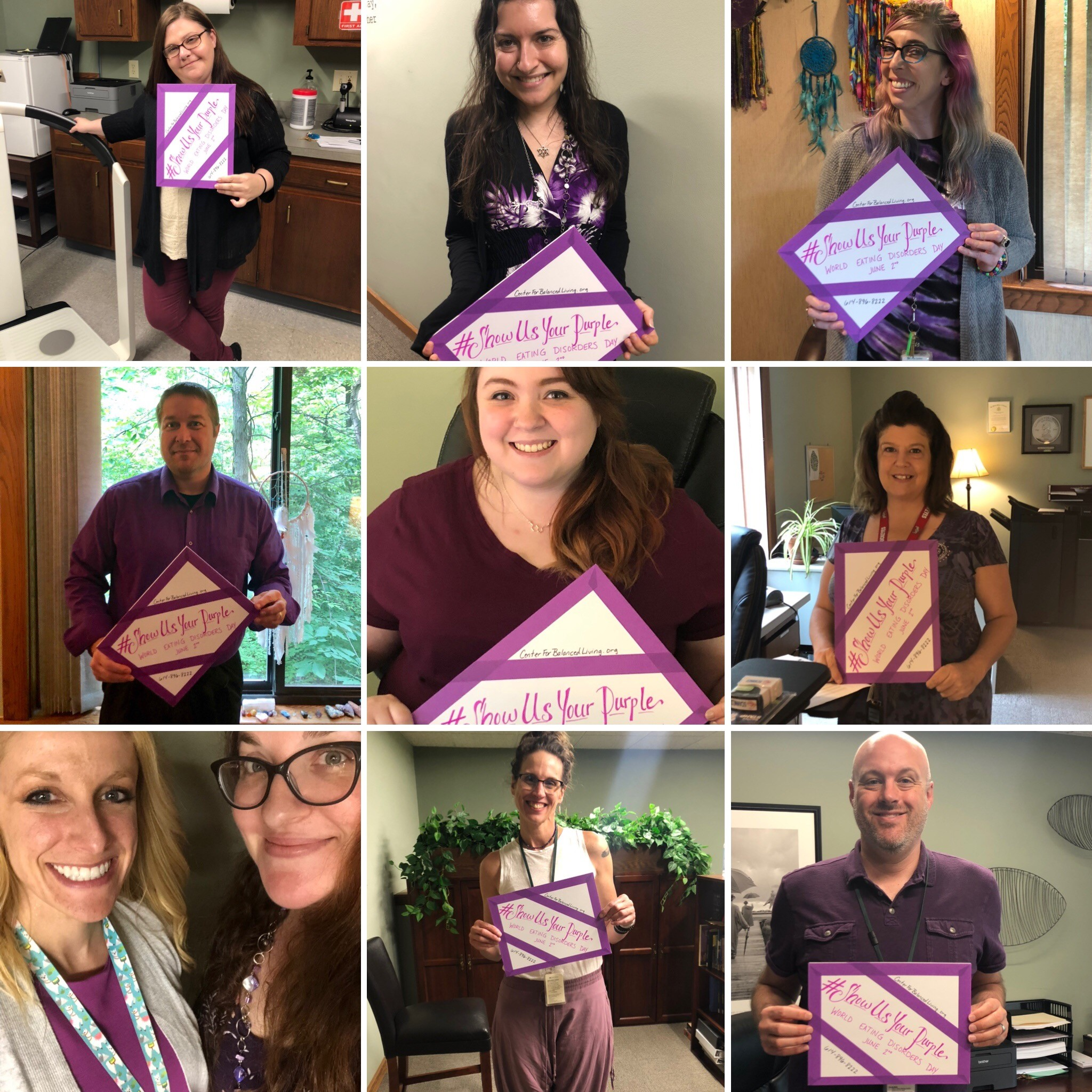 June 2nd was World Eating Disorders Day - Thank you to The Center's Staff for helping spread eating disorder awareness!#WorldEatingDisordersDay #ShowUsYourPurple