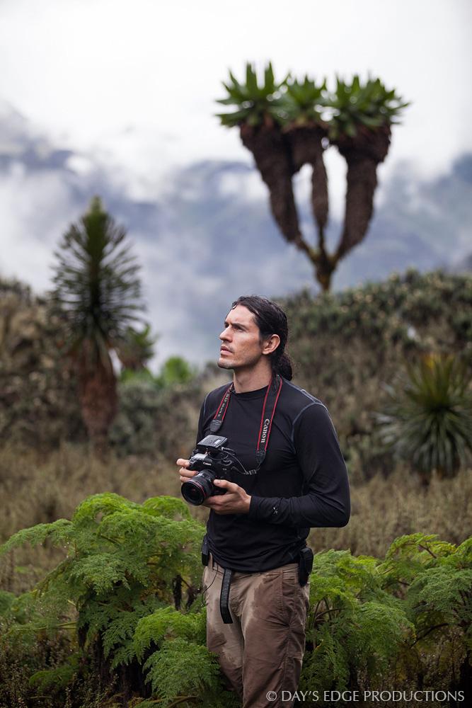 Biologist and photographer Nate Dappen in Rwenzori Mountains National Park, Uganda.