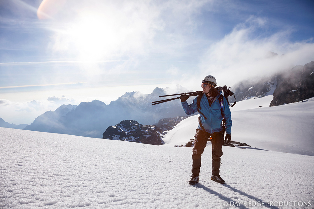 Biologist and photographer Nate Dappen on the Stanley Plateau glacier on Mount Stanley in Rwenzori Mountains National Park, Uganda.