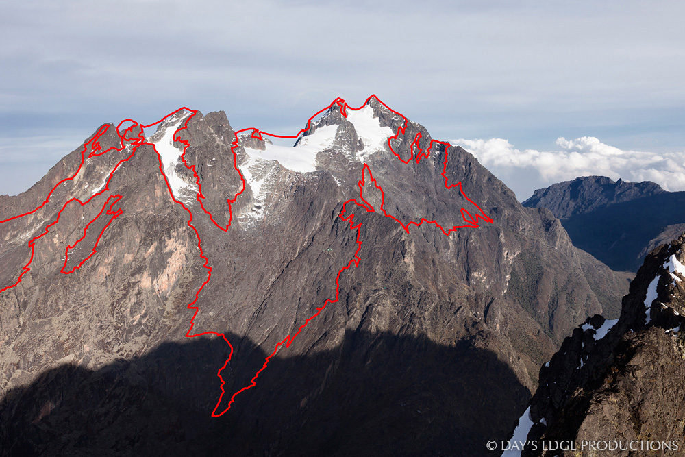 A modern (2013) photo of Mt. Stanley, with the outline of the glaciers present in 1906. Modern and original photos were both captured in the dry season. The vertical extent of the 1906 glacier is approximately 1200m.