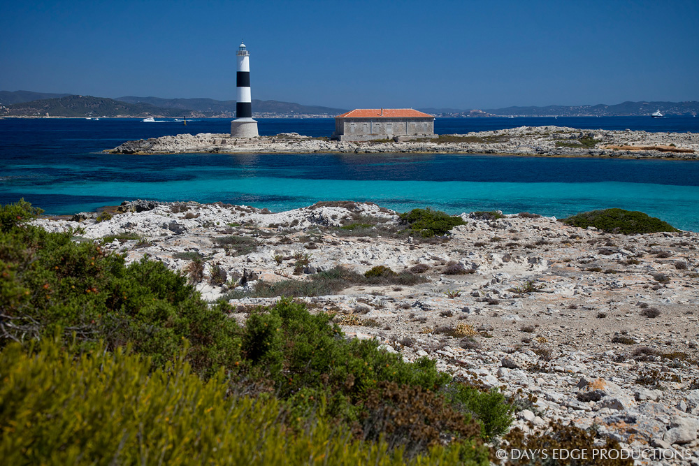 A small lighthouse on the island of Isla des Porcs, in Spain's Balearic Islands.