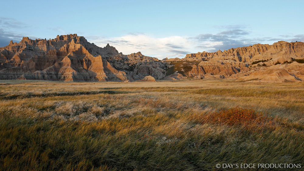 Badlands formations in the northern unit of Badlands National Park, South Dakota.
