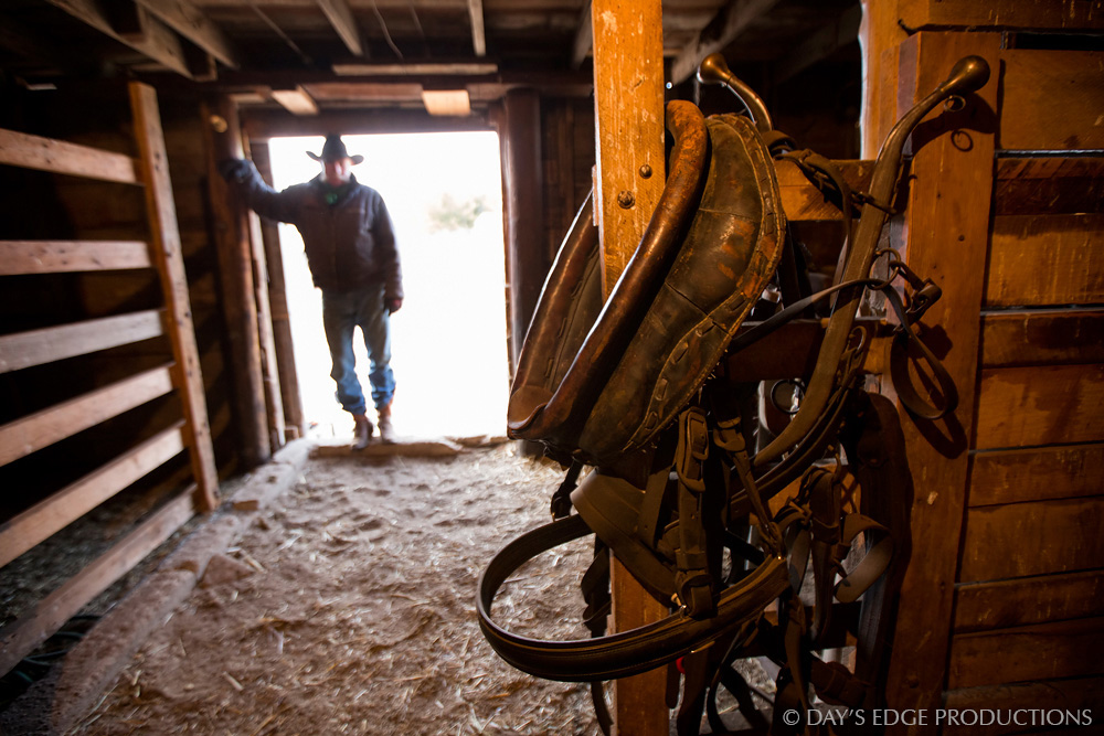 Bruce Switzer, a 4th-generation cattle rancher, stands at the door of his barn in the Nebraska sandhills.