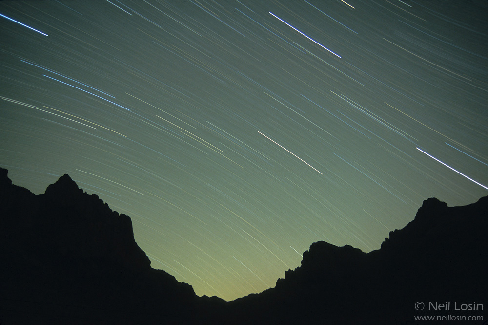 Star trails over Cave Creek Canyon in the Chiricahua Mountains of southeastern Arizona.
