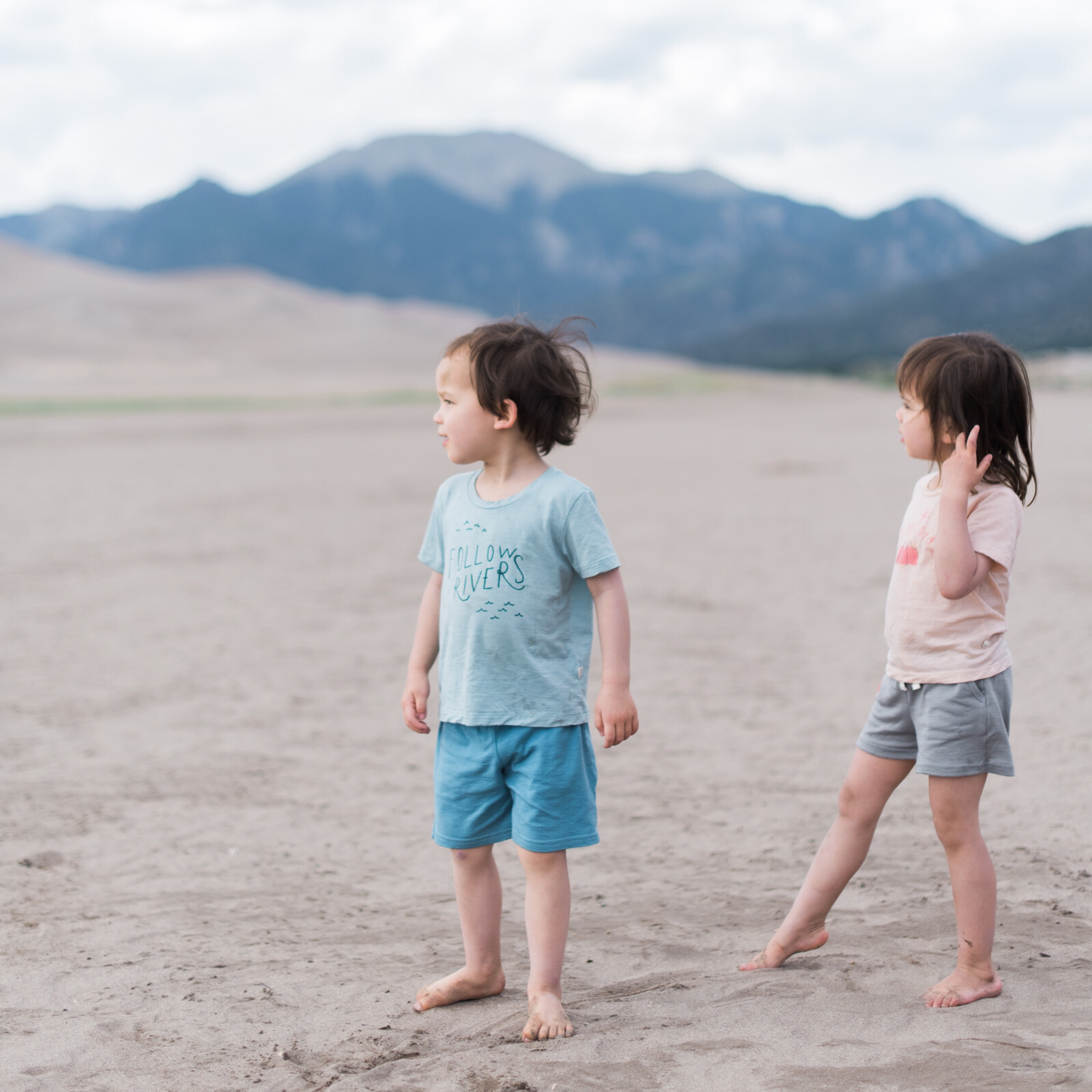 Our kids, fond of everything wild and wearing their  merino tees for good and shorts .