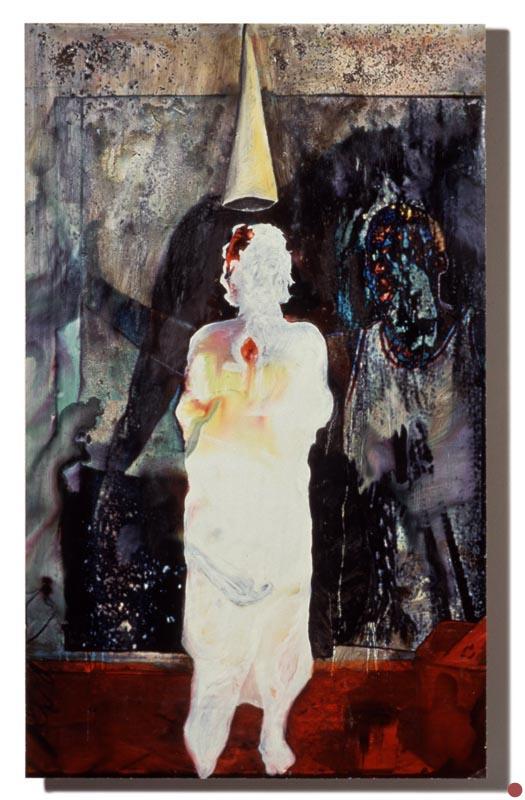 """water, oil &coffee on inkjet on board, 32""""x48"""", 1997 (sold)"""