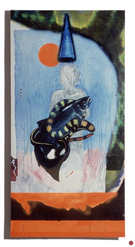 """water, oil &spraypaint on inkjet on board, 32""""x62"""", 1997"""