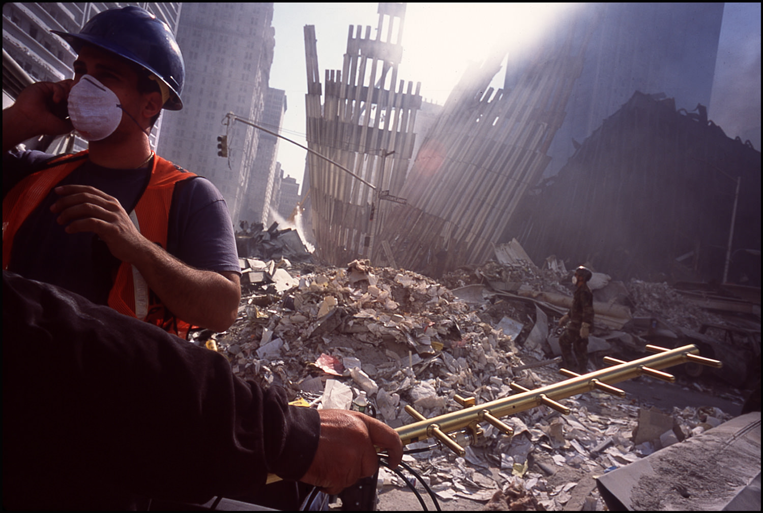 One week later, the towers were down and rescue workers tried in vain to track survivors through cell phone transmissions.