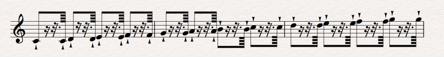 For this one, cheat each 64th as close to the next downbeat as possible - very quick, like a grace note.